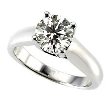 Solitaire 0.70 Carat VS2/H Round Diamond Engagement Ring 14K White Gold