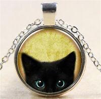 Vintage Black Cat Cabochon Silver Glass Chain Pendant Necklace Jewelry