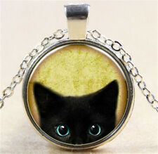 Vintage Black Cat Cabochon Silver Glass Chain Pendant Necklace Jewelry