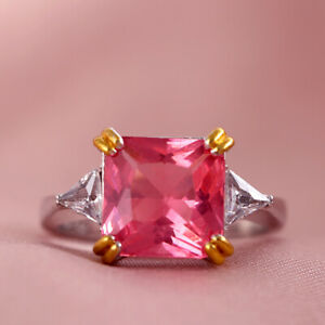 Gorgeous 925 Silver Pink Sapphire Rings for Women Engagement Jewelry Size 10