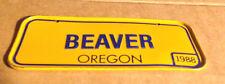 BEAVER Orange Oregon- Vintage 1988 Mini License Plate - Name Tag  Bicycle Plate!