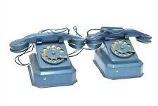 Vintage Toy Telephone Master Phones No 211 Blue Metal Toy Desk Telephones