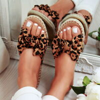 Womens Ladies Slip On Sandals Bow Flat Mule Summer Sliders Espadrille Shoes Size