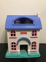 Fisher Price Little People Blue White Doll House w/ Little People 1996 #2511