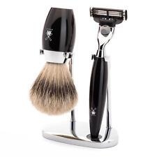 MUHLE Kosmo Negra Gillette mach 3 Razor & de aletas plateadas pelo de tejón brocha de afeitar Set