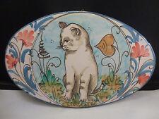Vietri Italian Art Pottery  Oval Platter Wall Plaque - HTF pattern  KITTY CAT