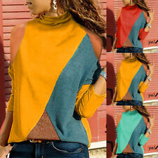 Fashion Women Blouse Long Sleeve Off Shoulder Patchwork Geometric Tops Pullovers