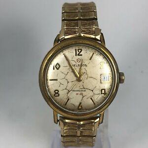 Helbros Invincible Mens Wind Up Bracelet Date Quartz Watch For Parts or Repair