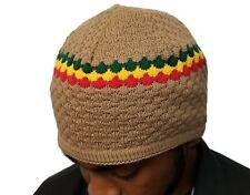 Tan Rasta Skully Beanies Hat Beret Tam Soft Skull Knitting Cap Beanie Kufi Pray