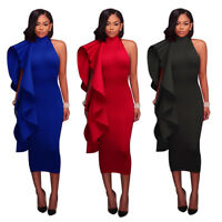 Sexy Women sleeveless ruffled bodycon clubwear party cocktail package hips dress