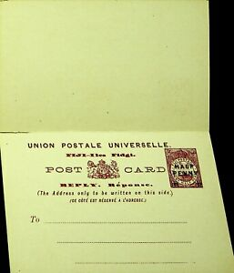 FIJI UNUSED HALF PENNY OVPT ON 1½ PENNY FLAW PRINT POSTAL STATIONERY REPLY CARD