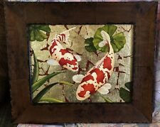 Koi by Matthew Muth Framed Original Painting Mixed Media Oil & Gold Leaf Canvas