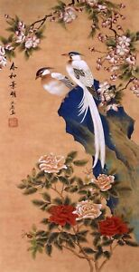 100% HANDPAINTED ORIENTAL ASIAN FINE ART CHINESE FLORAL PAINTING-Birds&Flowers