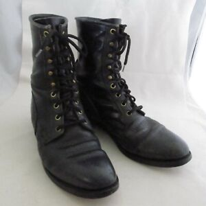 Vintage Justin Black Pebble Leather Western Style Lace Up Roper Boots Size 9 D