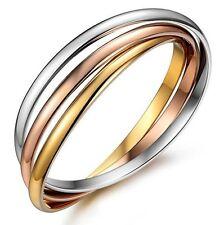 Women bracelet Silver/RoseGold/Gold Plated Stainless Steel 3-color 3-bangles set