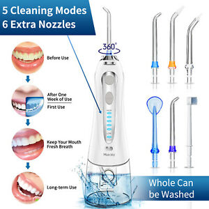 Cordless Water Flosser Dental Oral Irrigator Teeth Cleaner Floss With 5 Jet Tips