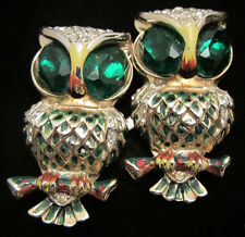 "Rare Vtg 2"" Signed Coro Enamel Green Rhinestone Owl Brooch Fur Clips Duette A5"