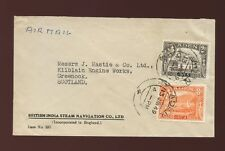 ADEN 1949 AIRMAIL to SCOTLAND BRITISH INDIA STEAM NAVIGATION CO ENVELOPE 2A + 8A