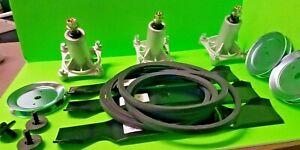 "Rebuild Kit Fits Husqvarna 54"" Deck Mower LGT2654 Spindles Blades Pulleys 196103"