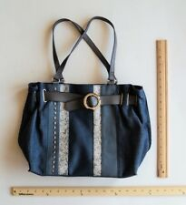 Women's LaTique DENIM Blue & Grey SILVER  Tote Bag Purse Style Ladies Vegan