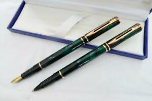 NEW O/S WATERMAN LAUREAT MK II FOUNTAIN PEN & ROLLERBALL, GREEN MARBLED WITH BOX