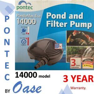 Pontec by OASE Pond omax 14000 8mm solid handlin 13400lph koi waterfall pump 3yr