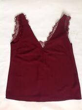 ASOS Burgundy Red Deep Plunge Black Lace Insert Camisole Vest Top - Size 6/EU 34