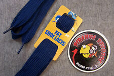 "Navy Blue Fat Flat 50"" x (5/8""-3/4"") JN Shoelaces Shoe Strings Piranha Records"