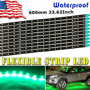 10 x LED LIGHT WaterProof Green Flexible 60CM Strip CAR/Motorcycle 12V