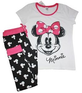Minnie Mouse - Mickey Oreille Logo Bas - Femmes Taille M 2 Pièce Pyjama Ensemble