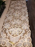 "Vintage Table Runner Dresser Scarf Cream Floral Cutout Cotton Bld 45"" x 16"" NWT"