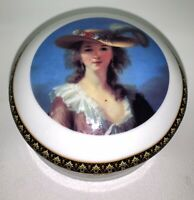 Vecceli Trinket Box  Round Italy Fine China Lady w Hat Gold Metal Trim