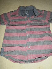 Tu Boy's Short Sleeved Shirt age 3 years maroon and grey striped