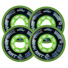 RINK RAT Wheels 76mm 76a HOTSHOT XXX 4-Pack Black/Green Inline Indoor Hockey