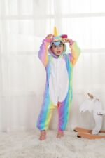 Kids Rainbow Unicorn Kigurumi Animal Cosplay Costume Onesie1 Pajamas Sleepwear ~