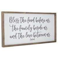 Bless The Food Wood Wall Decor Family Love Amen Quote Kitchen Rustic Decor