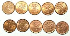 1990-1999  Canada 1 Cent Penny with Semi Key Date 1990  10 Coin lot