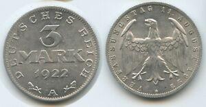 G12720 Germany Weimar Republic 3 Mark 1922 A KM#29 XF Deutsches Reich
