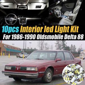 10Pc Super White Car Interior LED Light Kit for 1986-1990 Oldsmobile Delta 88