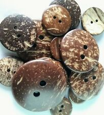 Real Coconut Shell Buttons 10x20mm, 7x25mm, 5x30mm, 4x38mm, 2x44mm.
