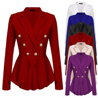 Women's Military Slim Fit Casual Smart  Blazer Ladies Office Jacket Coat Suit