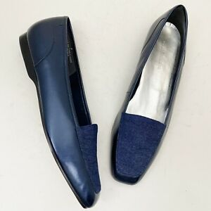 ENZO ANGIOLINI Liberty Blue Leather & Denim Loafers - Size 11M