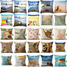 Sea Home Cotton Linen Sea Creature Pillow Case Car Bed Sofa Waist Cushion Cover