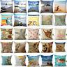 Sea Home Cotton Linen Sea Creature Pillow Case Car Bed Sofa Waist Cushion Cover