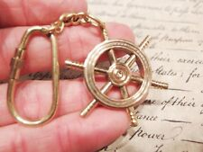Antique Ship Wheel Keychain Solid Brass Handmade Key Ring Nautical Gift Item