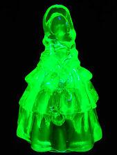 Green Vaseline glass Louise Doll Figurine uranium princess ballerina yellow neon