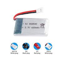 3.7V 600mAh 802540 Li-Po Batteries with 2Pin XH/JST/SM/PH Plug for V931 SYMA X5C
