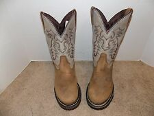 WOMENS ROCKY BROWN & TAN LEATHER UPPER COWBOY BOOTS SZ 8 M