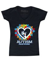 Autism Awareness Heart Hand Puzzle Women's V-Neck T-shirt Support Love Kind Tee