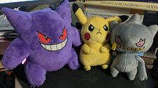 Pokemon Plush Doll Lot Officially Licensed TOMY Banette, Angry Pikachu, Gengar